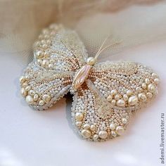 Pearl beaded butterfly