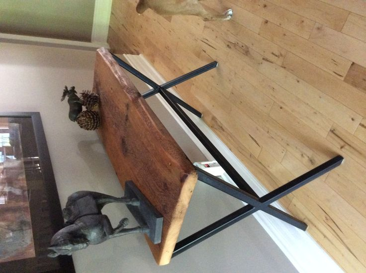 Rustic & Sophisticated. Stunning Console Table made from Reclaimed Barn Board with Painted Steel Base.