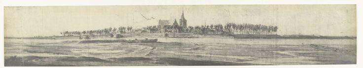 frères Moreau | Gezicht op Grave, 1672, frères Moreau, Adam Frans van der Meulen, 1900 - 1903 | Foto van een tekening met een panoramisch gezicht op Grave, ingenomen door het Franse leger op 14 juli 1672. Onderdeel van een serie foto's van tekeningen van veroverde steden tijdens de Franse inval in de Nederlanden in 1672.