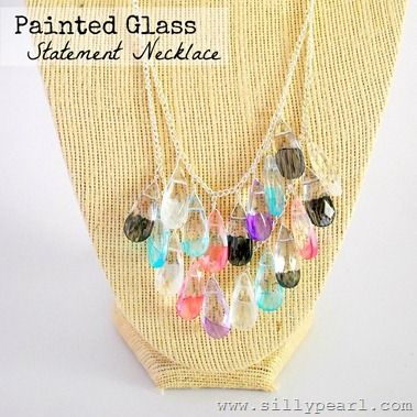 Painted Glass Teardrop Statement Necklace - The Silly PearlGlasses Teardrop, Glasses Statement, Statement Necklaces, Diy Painting, Teardrop Statement, Diy Necklace, Silly Pearls, Painting Glasses, Jewelry