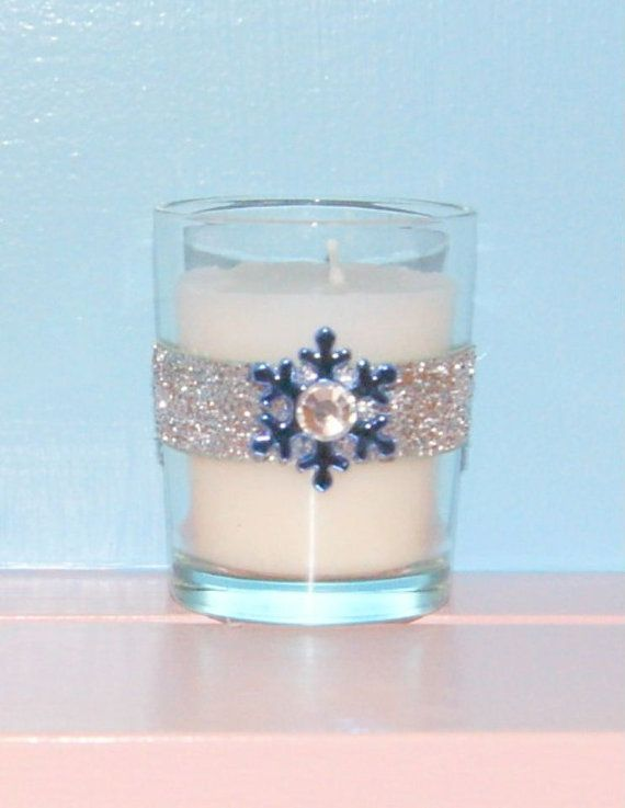 Votive Candle Holder / Winter Wedding Decoration / Bling Wedding Decor / Snowflake Wedding Decor / Silver Glitter / Blue / Rhinestone / 6 on Etsy, $24.99