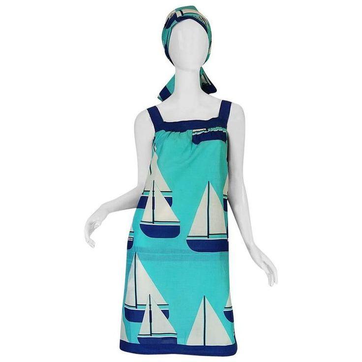1960s Hermes SailBoat Print Shift Dress & Scarf