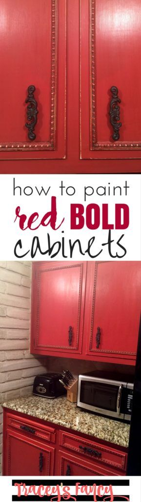 DIY Painted Red Cabinets in the Kitchen | Tracey's Fancy | How paint bold…
