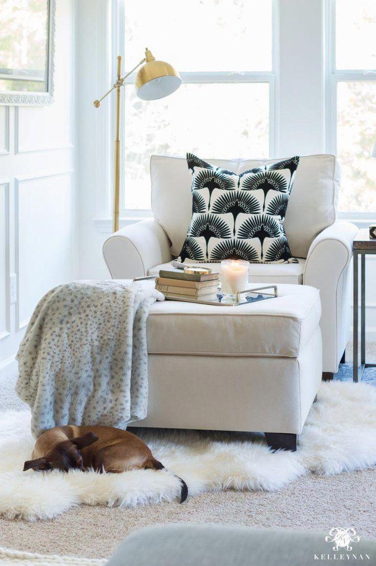 Oversized chair in bedroom sitting nook # ...