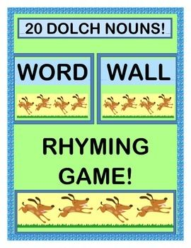 Make a WORD WALL with 20 WORD CARDS from the DOLCH NOUN LIST!  Add a RHYMING GROUP GAME that creates a 2-line Rhyme for each Word!  Your kids will complete the funny Rhymes, using the 20 RHYME CARDS that they will add to the WORD WALL.  Then make FOLDER GAMES for your Literacy Centers!  (15 pages)  From Joyful Noises Express TpT!  $