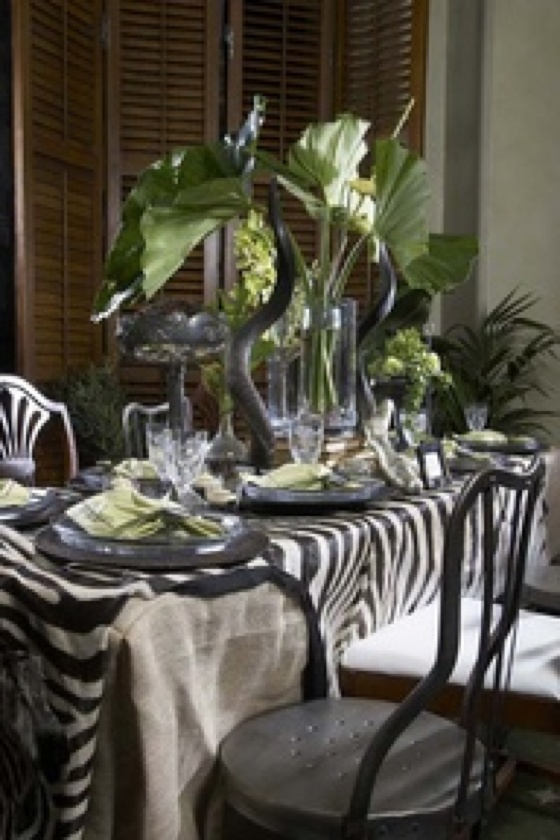 Interesting mix of leaves, zebra skin and chairs |Pinned from PinTo for iPad|