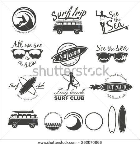 Surfer vector set. Vintage surf elements. Vector retro surfing labels, badges and design elements.