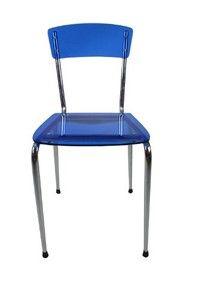 Acrylic Ghost Chair with Chrome Frame - Blue MC003