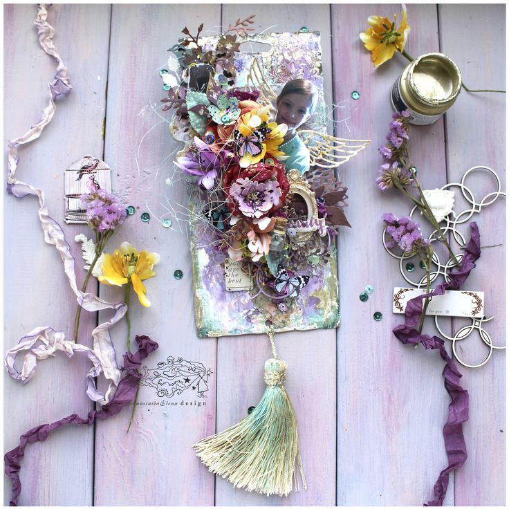 My new mixed media tag with a lot of flowers and cute fairy. As a base I used the packaging. details: https://anastasiaelenadesign.blogspot.ru/2017/05/beautiful-flowers.html