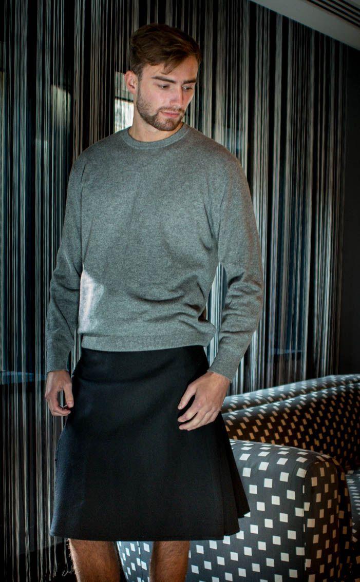 Black Wool Casual Kilt by Scotweb Tartan Mill