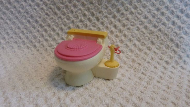 Fisher Price Dollhouse toilet bowl with attached toilet brush #Playskool
