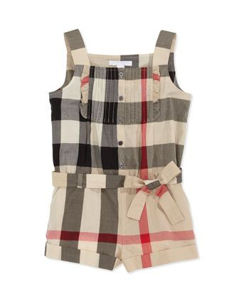 Check-Voile Pleated-Bib Romper, 4Y-10Y by Burberry at Neiman Marcus. Laila $195.00