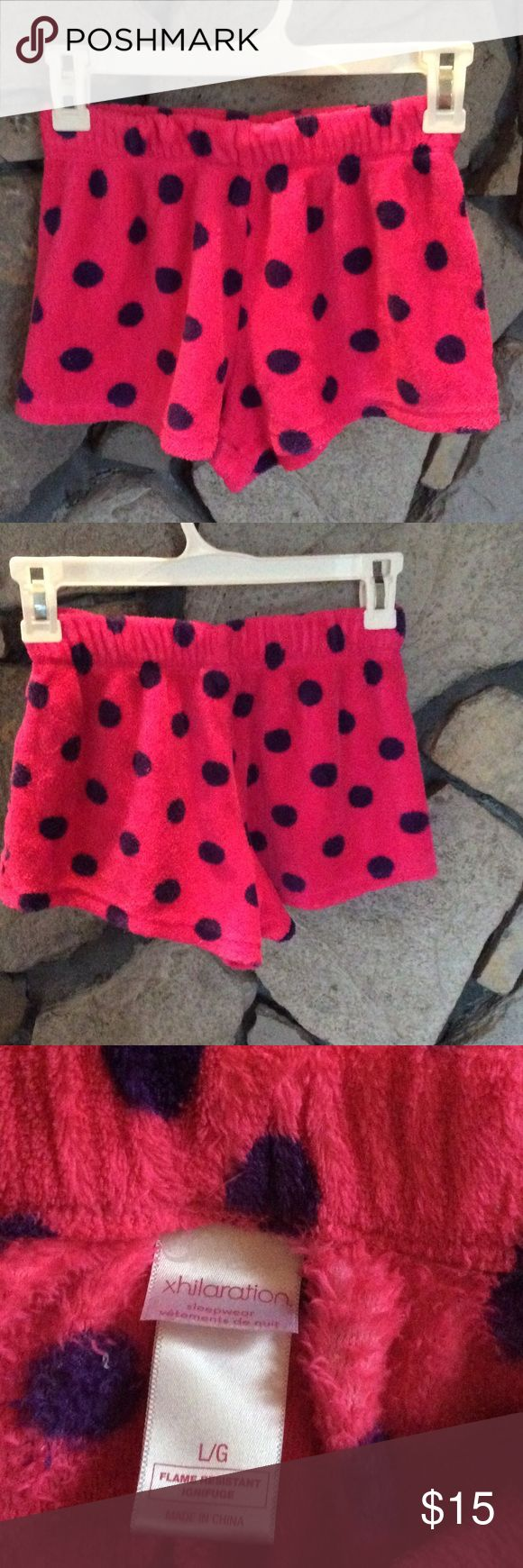 Polka dot print fleece shorts Very soft fleece polka dot print shorts.. hot pink with dark purple dots. Great for lounging around in or as sleepwear.  Great condition. Xhilaration Shorts