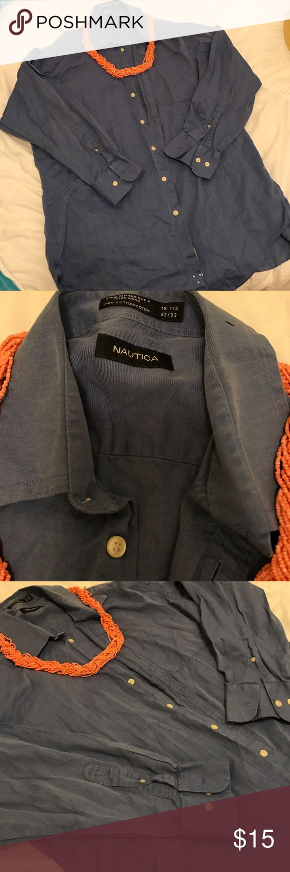 Nautica button down shirt This is a men's shirt, but I wore it with leggings and a chunky necklace. Excellent condition. Size 16 1/2, similar to women's XXL. Nautica Tops Button Down Shirts