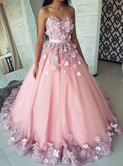 56d7a6f8b22 Ball Gown Sweetheart Open Back Flower Lace Pink Long Prom Dresses with  Appliques