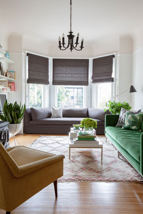 Jordan Ferney Via Little Greennotebook I Love This Color Scheme Very Much Blinds For WindowsBay Window BlindsBay WindowsGrey Walls Living RoomLiving