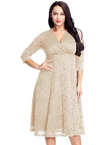 14613b044a0f LookbookStore Women s Plus Size Beige Lace Bridal Formal Skater Dress 20W   skater  plussize  bridal