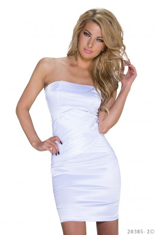 Wit strapless sexy jurkje, mooi strak jurkje met gekruisde lijnen