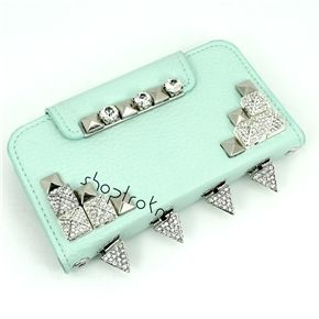 Silver & Mint Diamond Ice Quarts Wallet Phone Case For iPhone 4, 5, Galaxy S3, S4, Note 2 front view ***********Shop now and use the code :REPIN to get 15% off and get FREE shipping within the U.S...