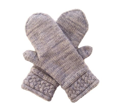 Thebeauty of these gray merino mittens is in the details. The elegant cuffs have a woven cable pattern, the thumb gusset grows from the cuff on the palm, there is a tiny gusset where the thumb joins the palm and the decreases at the top match the cuff borders. Striations of light to medium shades of gray also add visual interest.  The yarn is a single ply, slightly thick and thin, kettle dyed merino from Uruguay. These mittens are so very soft and warm, and the cuffs are extra long to extend…