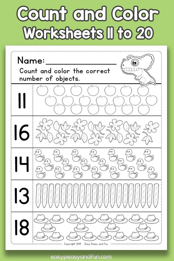 Count And Color Worksheets 11 To 20 Counting To 20 Color Worksheets Counting For Kids