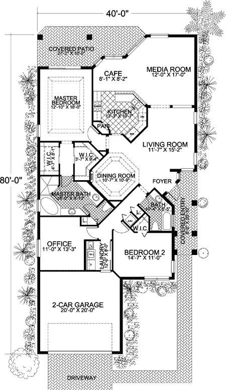 Plan 32170aa narrow lot mediterranean home plan house plans 1 and house - L shaped house plans for narrow lots ...