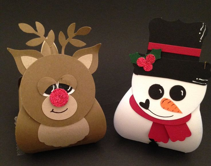 Curvey Keepsake boxes  Rudolph and Snowman  Made by Friend & I