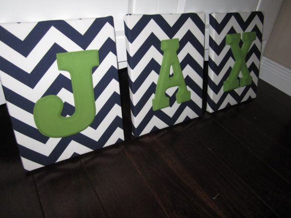 Wall Canvas Letters, Nursery Decor, Nursery Letters, Wooden Letters, Personalized, Nursery Art, Navy Blue and White Chevron on Etsy, $11.71
