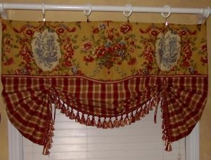 French country valance balloon shade curtain red gold waverly toile plaid trim balloon shades - French country kitchen valances ...