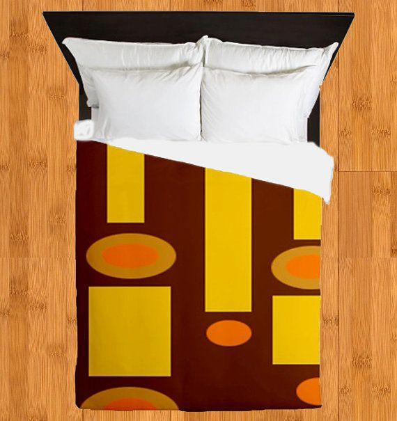 Modern Brown Duvet Cover, Modern Bedding, Mod Duvet Cover, Mid Century Duvet Cover, Mid Century Modern Duvet Cover