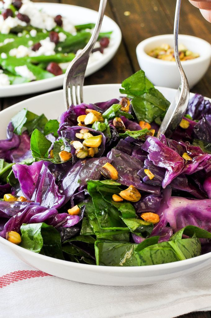 Purple Cabbage Spinach with Garlic Herb Butter - minutes to make, adds a great splash of colour to any table!