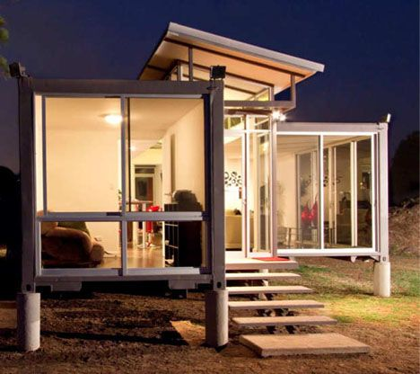 http://dornob.com/containers-of-hope-cheap-modern-cargo-container-home/#axzz2YVNXSnqx  container house at night