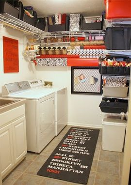 11 Creative and Clever Laundry Storage Ideas for Small Spaces I could do maybe one shelf at top, if that... sadly my laundry room has a very low ceiling ~sch