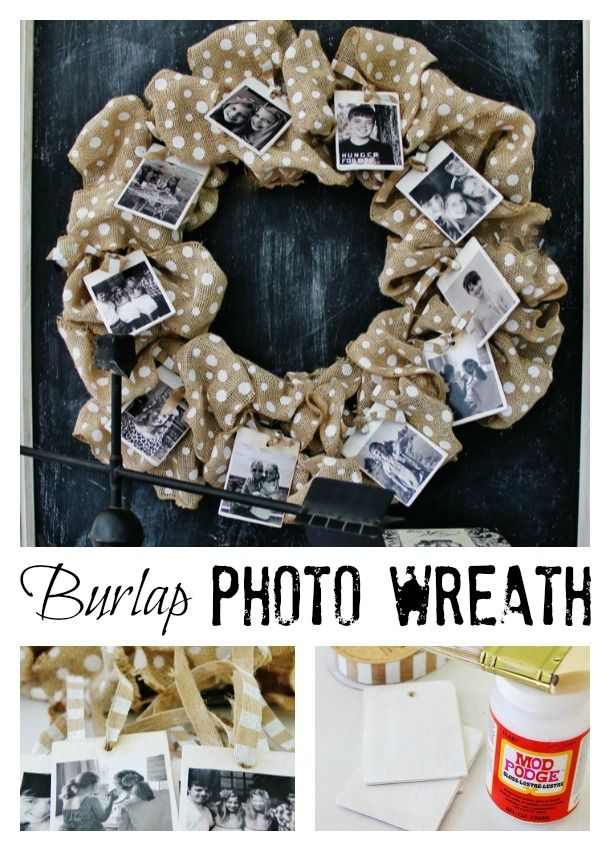 Easy DIY burlap photo wreath!  Perfect for fall decorating.  thistlewoodfarms.com