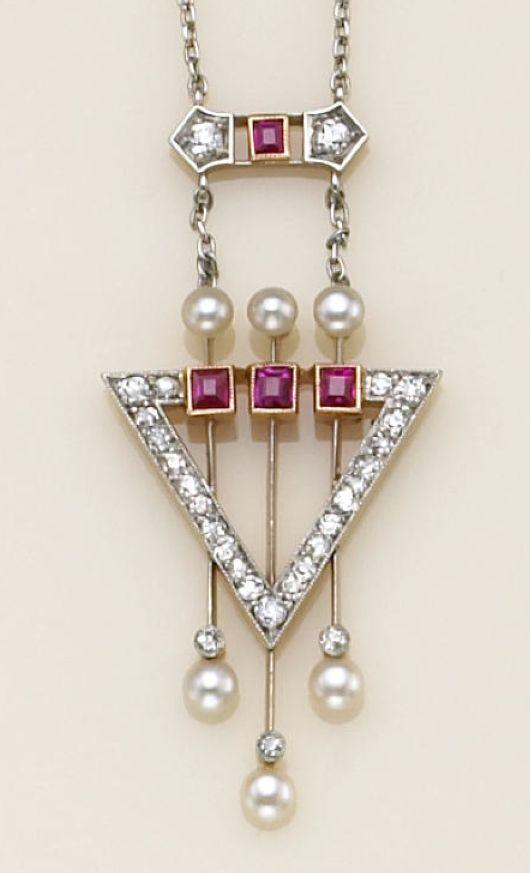 Art Deco A cultured pearl, diamond, and ruby necklace, circa 1900!