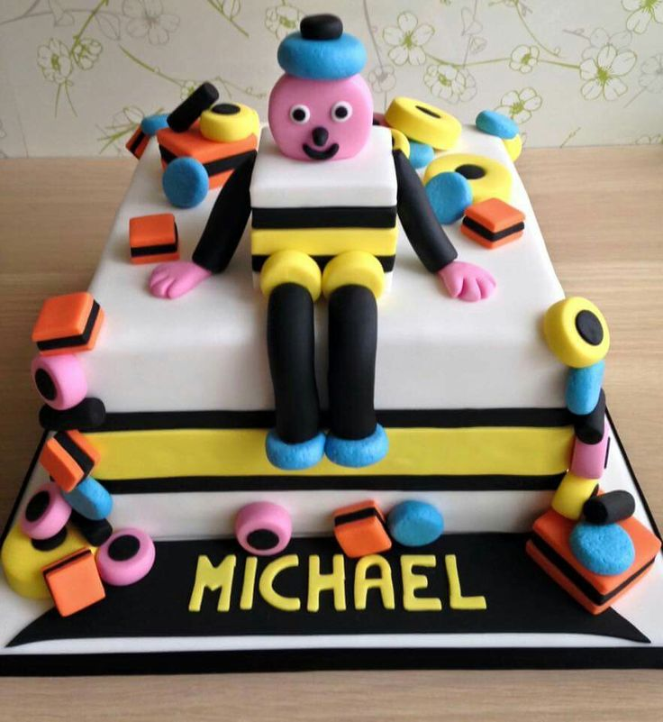 Amazing Bertie Bassett liquorice allsorts cake for my Daddy's Birthday made by Glitter and Sparkle Cakes, Chilwell, Nottingham, England