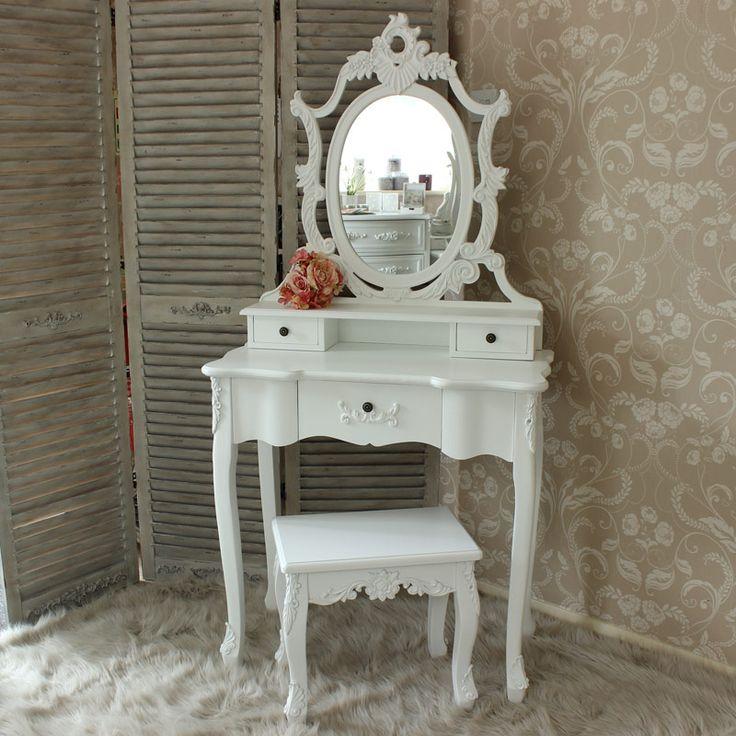 Sienna Range   Ornate White Dressing Table, Mirror And Stool