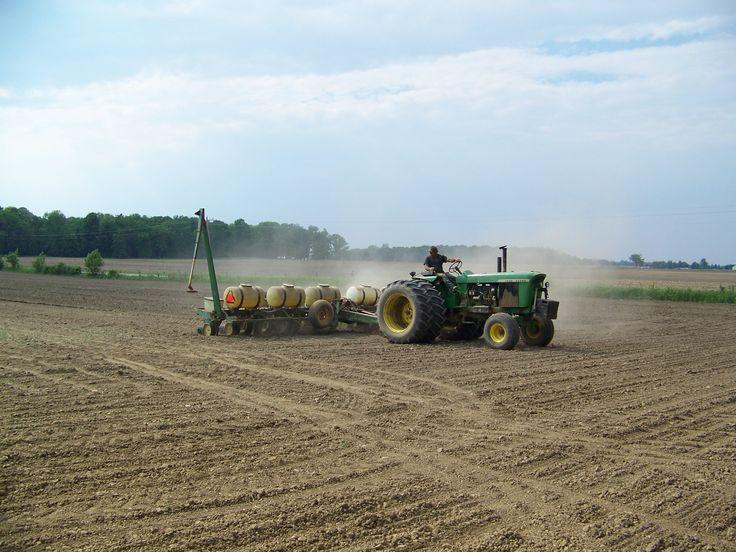 Planting corn with John Deere 4520