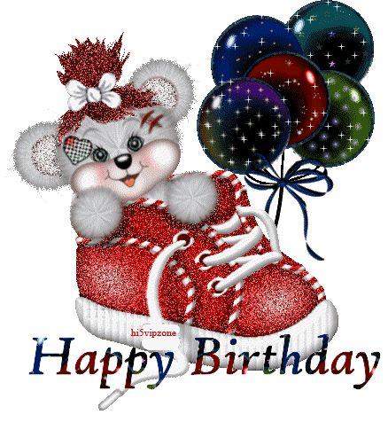 Nounours souriant installé dans une basket rouge t'apportant un bouquet de ballons scintillants pour te souhaite un bon anniversaire