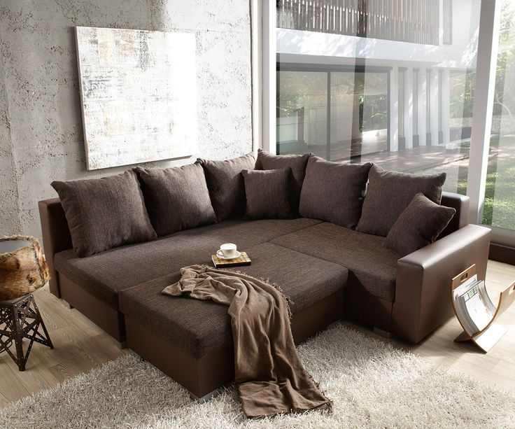 DELIFE Couch Lavello 210x210 Dunkelbraun Ottomane Links Hocker, Ecksofas  4796 4833 0