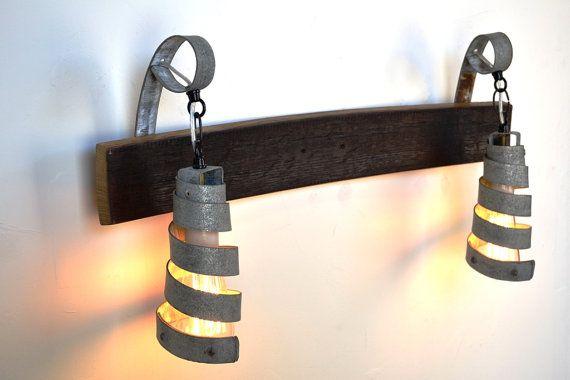 Wine Barrel Bath / Vanity Pendant Light -2 -100% RECYCLED from Napa Wine Barrels