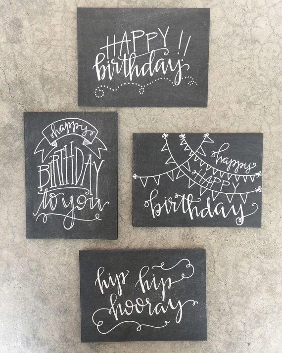 Set of Four Handlettered + Modern Calligraphy Chalkboard Inspired Birthday Cards: