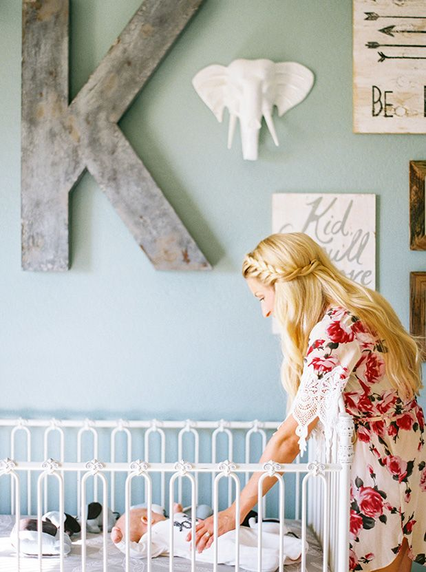 Sweet nursery + newborn shoot via Grey Likes Baby.