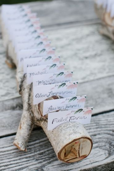 Featured Photographer: Aaron Young Photography; wedding reception place card display idea
