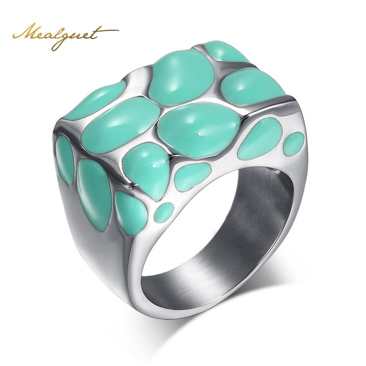 Meaeguet Wholesale Wedding Rings Stainless Steel Men And Women Wedding Rings Stainless Steel Enamel Ring Jewelry