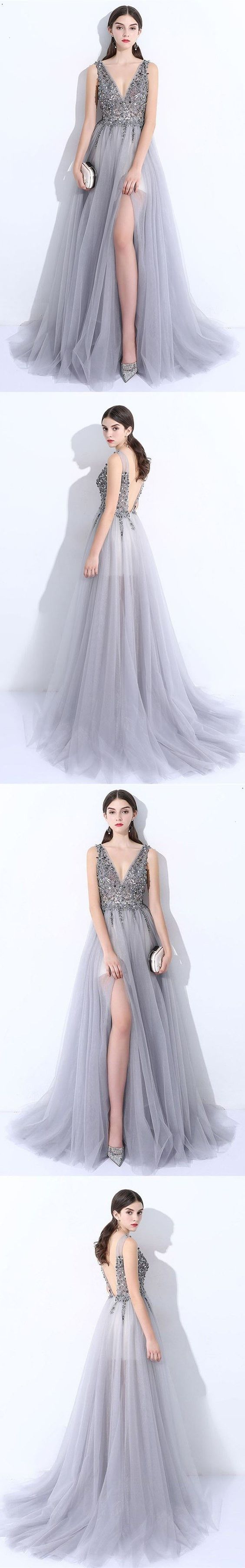 Long Prom Dresses Sexy, Princess Party Dresses V-neck, Backless Formal Dresses 2018 Modest, Tulle Evening Gowns Beading M1454#prom #promdress #promdresses #longpromdress #promgowns #promgown #2018style #newfashion #newstyles #2018newprom #eveninggown #vneckline #greypromdress #backless #tulle #beading