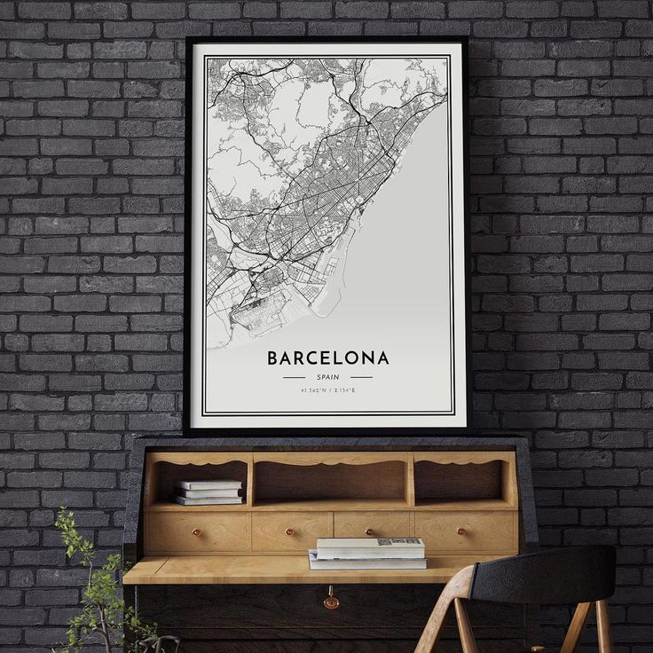 Map poster of Barcelona. Classic / White / 50x70cm.