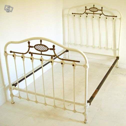 lit ancien en 120 fer forg et laiton ameublement h rault. Black Bedroom Furniture Sets. Home Design Ideas