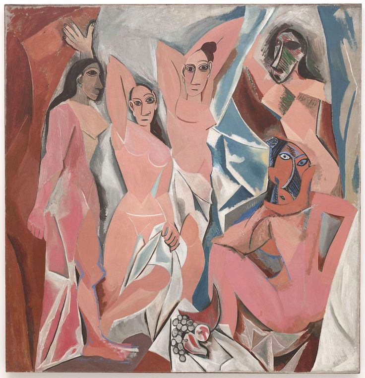 """""""Les Demoiselles d'Avignon (The Young Ladies of Avignon)"""" Picasso. 1907. """"The reversed gaze, that is, the fact that the figures look directly at the viewer, as well as the idea of the self-possessed woman, no longer there solely for the pleasure of the male gaze, may be traced back to Manet's Olympia of 1863."""""""