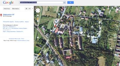 Nasz Kampus Pracze widziany z lotu ptaka. (via Google Maps)